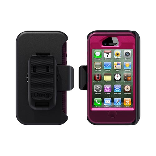 Original Otterbox Defender Series AT&T/ Verizon Apple iPhone 4, iPhone 4S Case & Holster w/ Kickstand & Built-in Screen Protector, APL2-I4SUN-E9-E - Deep Plum/ Hot Pink