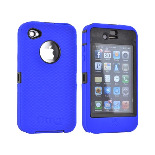 Original Otterbox AT&T/ Verizon Apple iPhone 4, iPhone 4S Defender Series Case w/ Holster & Built-in Screen Protector, APL2-I4UNI-20-EOTR - Black/ Blue [OPEN BOX]