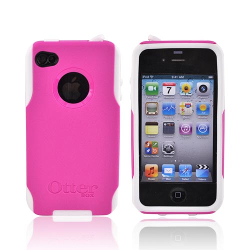 Original Otterbox AT&T/Verizon Apple iPhone 4, iPhone 4SHybrid Commuter Series Case w/ Screen Protector, APL4-I4UNI-44-E - Pink/White