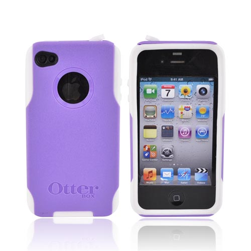 Original Otterbox AT&T/Verizon Apple iPhone 4, iPhone 4SHybrid Commuter Series Case w/ Screen Protector, APL4-I4UNI-B7-E - Purple/White