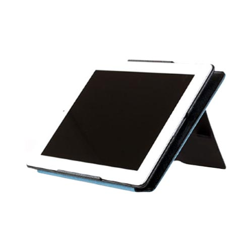 Original Zenus Apple iPad 2 Masstige Anaconda Folder Series Leather Case Stand, APPD2-MA5FD-RN - Royal Navy w/ Blue Interior