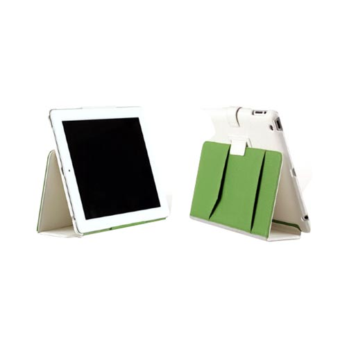 Original Zenus Apple iPad 2 Masstige Color Block Folio Series Leather Case Stand, APPD2-MLLFL-WH - White w/ Gray & Green Interior