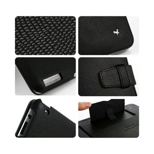 Original Zenus Apple iPad 2 Prestige Pearl Lizard Folder Series Leather Case Stand, APPD2-PL5FD-BK - Black