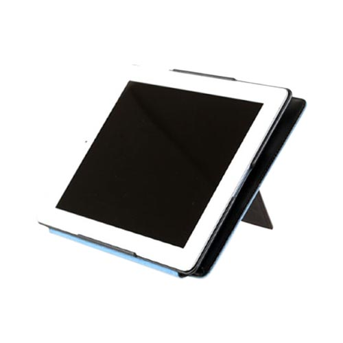 Original Zenus Apple iPad 2 Prestige Luxury Basic Band Series Leather Stand Case, APPD2-PLLBD-PG - Pearl Dark Gray w/ Blue Interior