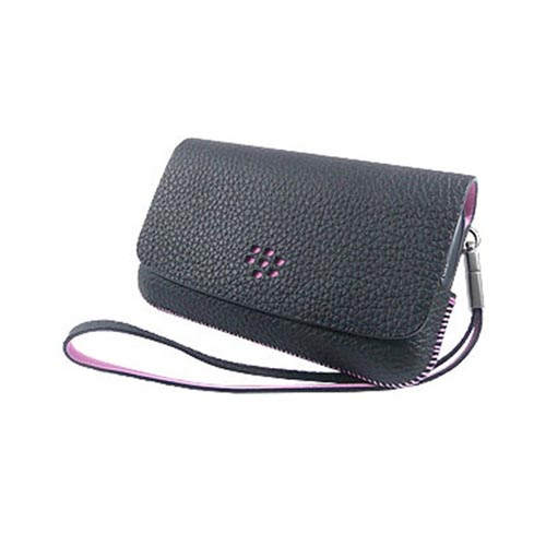 Original Blackberry Torch 9800 Horizontal Leather Pouch w/ Mirror and Strap, ASY-31014-001 - Black/Pink (PUTL)