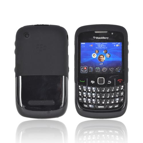 Original Blackberry Curve 8520, 8530, 8500, Curve 3G 9300, 9330 Premium Silicone Case w/ Slip On Hard Shell, ASY-32772-005 - Black