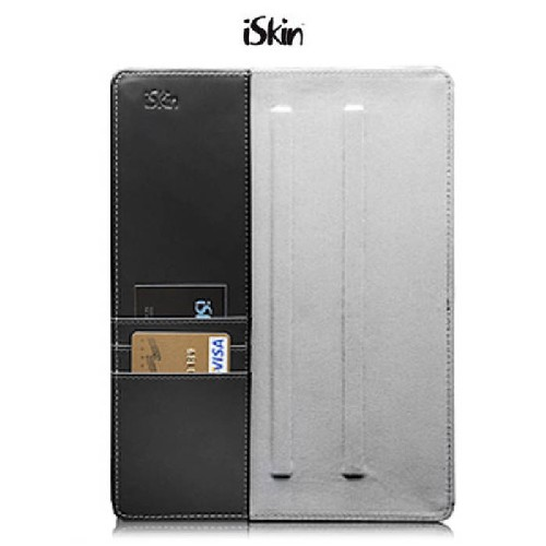 iSkin Aura2 Multi-Function Leather Folio w/Display Stand & Card Slots for Apple iPad 2/3/4 - Black