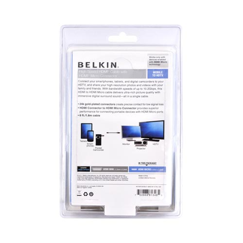 Belkin Black High Speed Micro HDMI-to-HDMI Cable (6 ft./1.8m) - AV10072-06-BLK