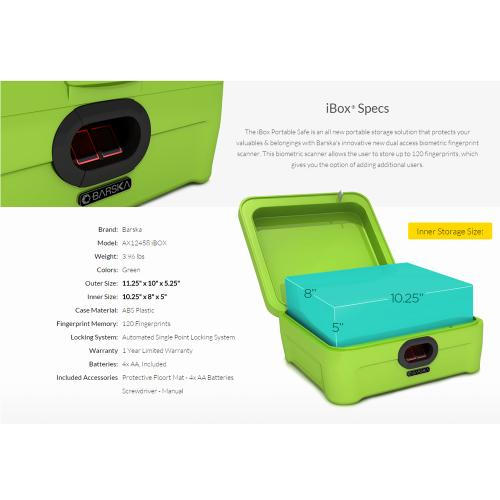 Barska iBox Portable Dual Access Biometric Security Storage [Green] [AX12458]