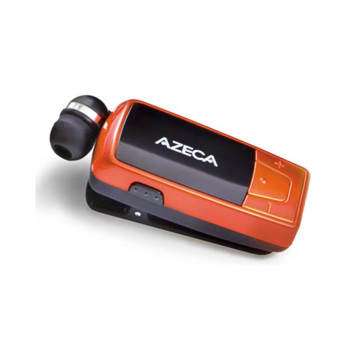 Original Azeca Retractable Bluetooth Headset w/ Lanyard, Pocket Case, & USB Charging Cable, AZM02 - Burnt Orange/ Black
