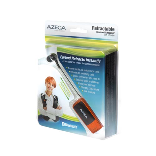 Original Azeca Universal Retractable Bluetooth Headset w/ Lanyard, Pocket Case, & USB Charging Cable, AZM02 - Burnt Orange/ Black