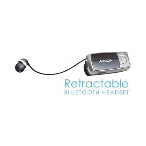 OEM Azeca Universal Retractable Bluetooth Headset w/ Lanyard, Pocket Case, & USB Charging Cable, AZM04 - Black/ Silver