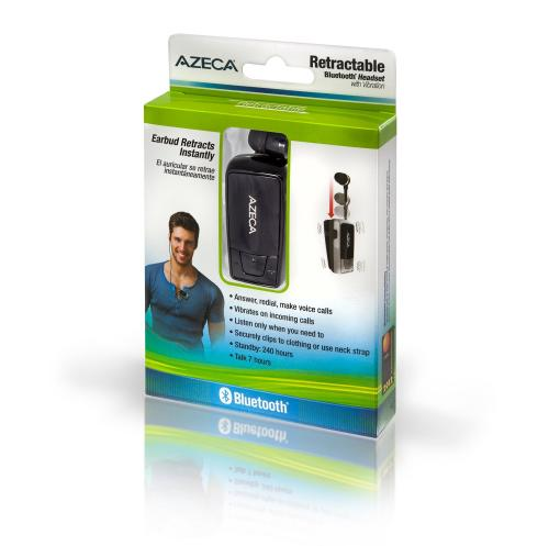 Azeca [Black] Retractable Bluetooth Headset w/ Lanyard, Pocket Case, & USB Charging Cable, AZM04