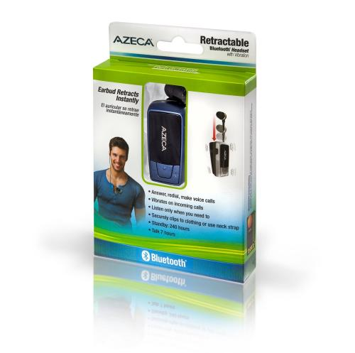 Azeca [Blue] Retractable Bluetooth Headset w/ Lanyard, Pocket Case, & USB Charging Cable, AZM04