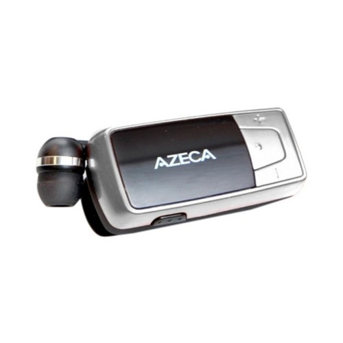 OEM Azeca Retractable Bluetooth Headset w/ Lanyard, Pocket Case, & USB Charging Cable, AZM04 - Black/ Silver