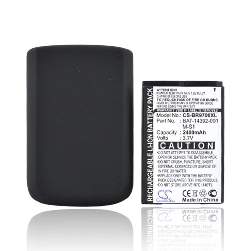 Blackberry Bold 9780 9700 Extended Battery w/ Rubberized Door - Black