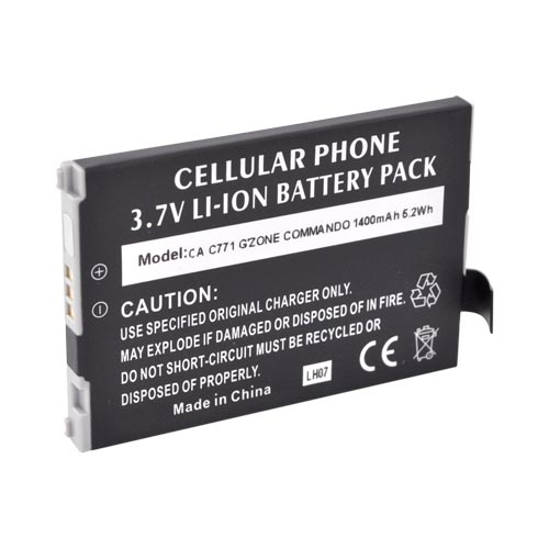 Casio G'zOne Commando C771 Standard Battery Replacement (1100 mAh) - Black