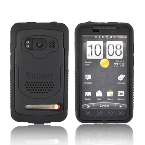 Original Trident Electra HTC Evo 4G Silicone on Rubberized Hard Case w/ Extended Battery (2800 mAh), Built-In Screen Protector, & 3.5mm Audio Jack Extender, B-CY-EVO-EXBAT-BK - Black