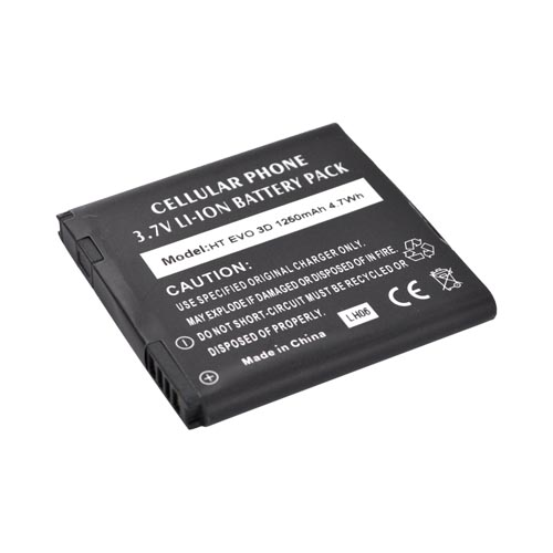 HTC EVO 3D, HTC Amaze 4G Standard Battery Replacement (1250 mAh) - Black