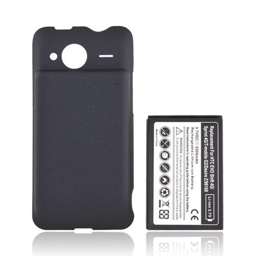 HTC EVO Shift 4G Extended Battery & Door (2800 mAh) - Black
