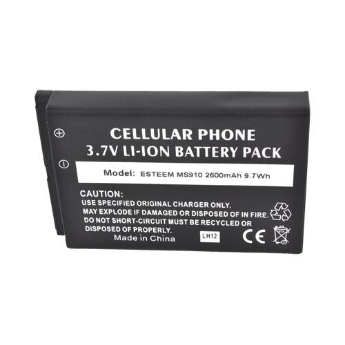 LG Revolution, LG Esteem Extended Battery (2600 mAh) w/ Rubberized Back Door - Black