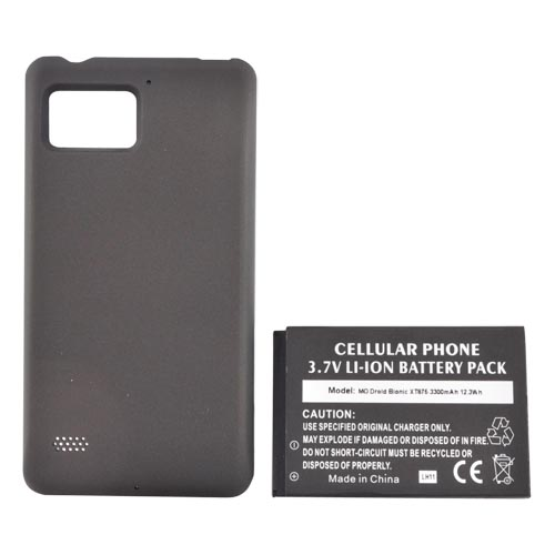 Motorola Droid Bionic XT875 Extended Battery w/ Door - Black (3300 mAh)