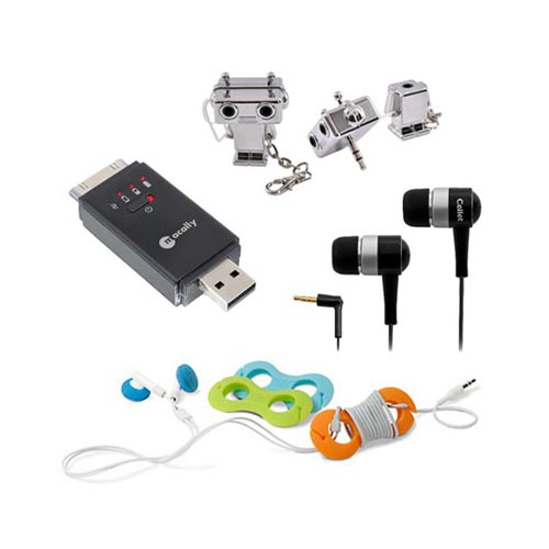 Brainiac Essential Bundle Package w/ Macally Apple Charge & Sync Flash Drive, 3.5mm Headset, Belkin TuneTie, & Robot Splitter