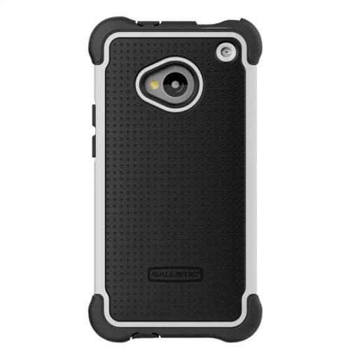Ballistic Black/ White Shell Gel Series Hard Back Cover Over Silicone Skin Case for HTC One - BA-007385