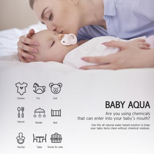 Baby AQUA 100% Natural All-Purpose Cleaner Spray for Toys & Pacifiers and More! Removes Ammonia Buildup, Stains, & Odor [16.7 oz.]