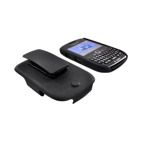 Original Verizon Blackberry Curve 3G 9330, 9300, 8520, 8530 Back Case Shell & Holster Combo Pack - Black