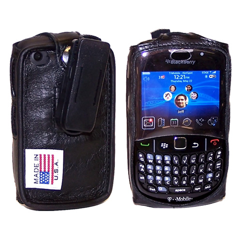 Original TurtleBack Premium Blackberry Curve 3G 9330, 9300, 8520, 8530 Leather Case w/ Swivel Belt Clip - Black
