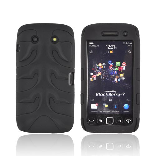 Original Nex Blackberry Torch 9860 9850 Rubberized Hard Fishbone on Silicone Case w/ Screen Protector, BB9570FB02 - Black