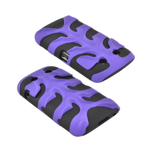 Original Nex Blackberry Torch 9860 9850 Rubberized Hard Fishbone on Silicone Case w/ Screen Protector, BB9570FB08 - Purple/ Black