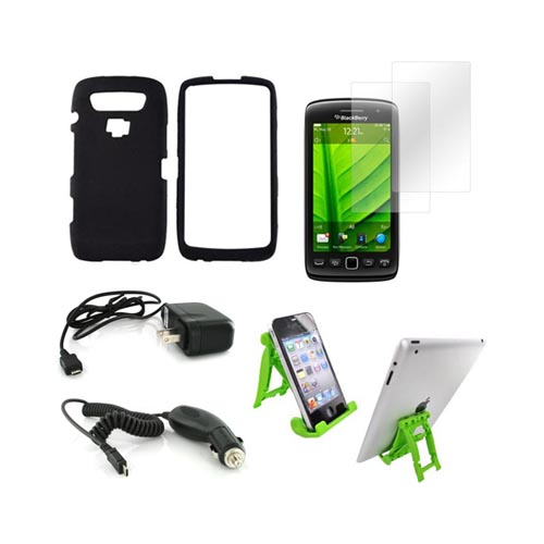 Blackberry 9850, 9860 Essential Bundle Package w/ Black Rubberized Hard Case, 2 Pack Screen Protector, Green Lime 3Feet Stand, Car & Travel Charger
