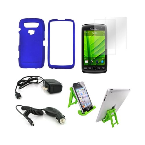 Blackberry 9850, 9860 Essential Bundle Package w/ Blue Rubberized Hard Case, 2 Pack Screen Protector, Green Lime 3Feet Stand, Car & Travel Charger