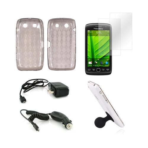 Blackberry 9850, 9860 Essential Bundle Package w/ Smoke Crystal Silicone Case, 2 Pack Screen Protector, Black Suction Ball Stand, Car & Travel Charger