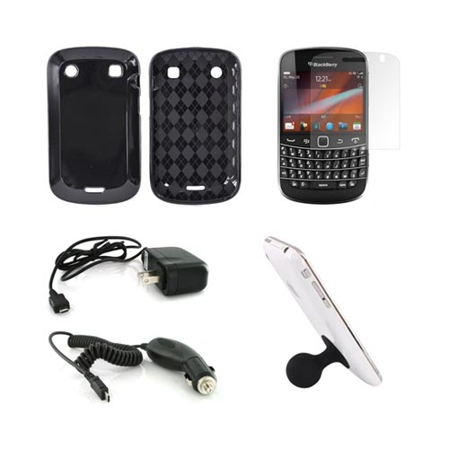 Blackberry 9900, 9930 Essential Bundle Package w/ Black Crystal Silicone Case, Screen Protector, Black Suction Ball Stand, Car & Travel Charger