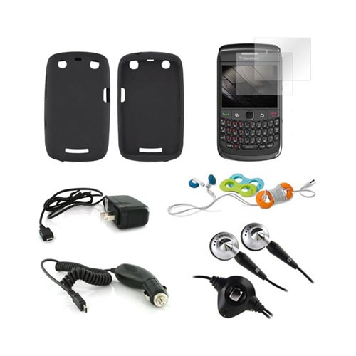 Blackberry Curve 9360 Combo Package W/ Black Skin, 2 Pack Screen Protector, Blackberry Headset (3.5mm), Belkin Cable Organizer, Car & Travel Charger