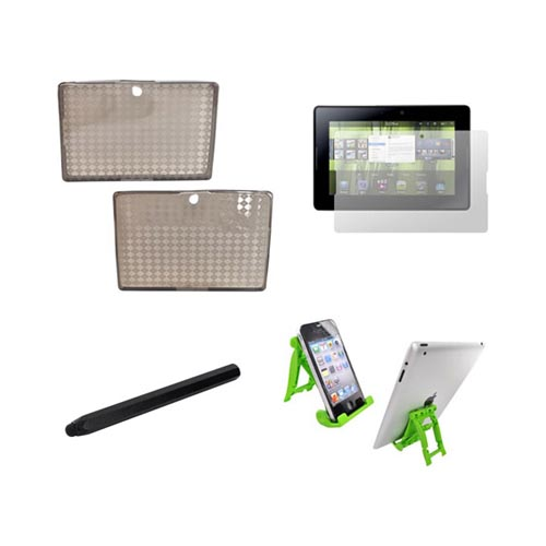 Blackberry Playbook Essential Bundle Package w/ Smoke Crystal Silicone Case, Screen Protector, Green Lime 3Feet Stand, & Black Metal Pen Stylus