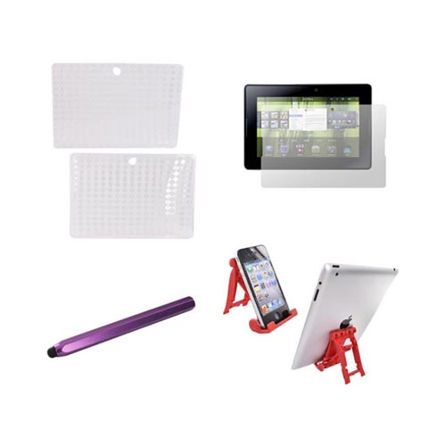 Blackberry Playbook Essential Bundle Package w/ Clear Crystal Silicone Case, Screen Protector, Red 3Feet Stand, & Purple Metal Pen Stylus