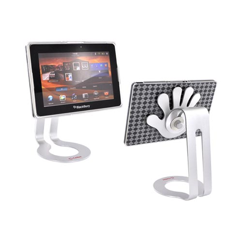 Blackberry Playbook Bundle Package w/ Clear Argyle Crystal Silicone Case & Cellet Universal Non-Slip Tablet Stand