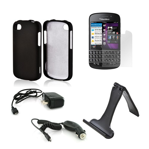 Essential Bundle Package w/ Black Rubberized Hard Case, Screen Protector, Portable Stand, Car & Travel Charger for Blackberry Q10