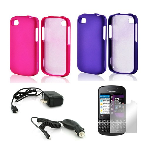 Essential Girly Bundle Package w/ Hot Pink & Purple Rubberized Hard Case, Mirror Screen Protector, Car & Travel Charger for Blackberry Q10