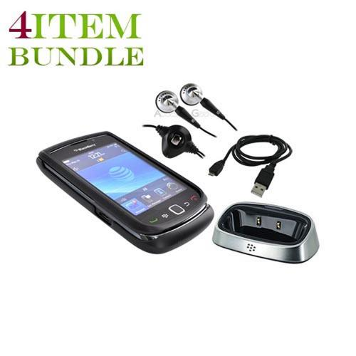 Blackberry Torch Bundle Package - Hard Case, Blackberry Stereo Headset, Blackberry Charging Pod, & Micro USB Charge n' Sync Data Cable - (College Combo)