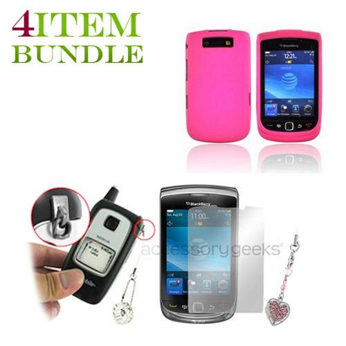 Blackberry Torch Bundle Package - Hard Case, Mirror Screen Protector & Sparkling Heart Charm - (Geeky in pink Combo)