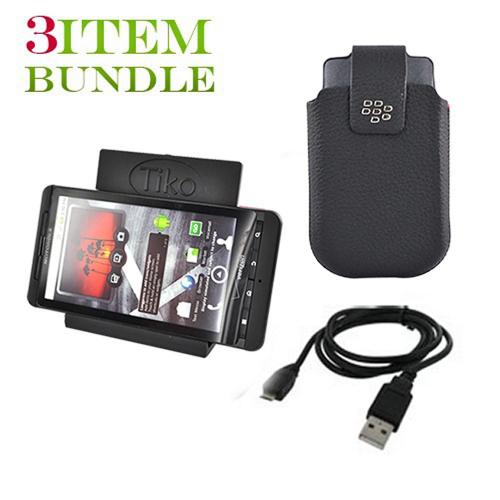 Blackberry Torch Bundle Package - Micro USB Charge n' Sync Data Cable, Blackberry Leather Pouch & Tiko Folding Stand - (Workaholic Combo)