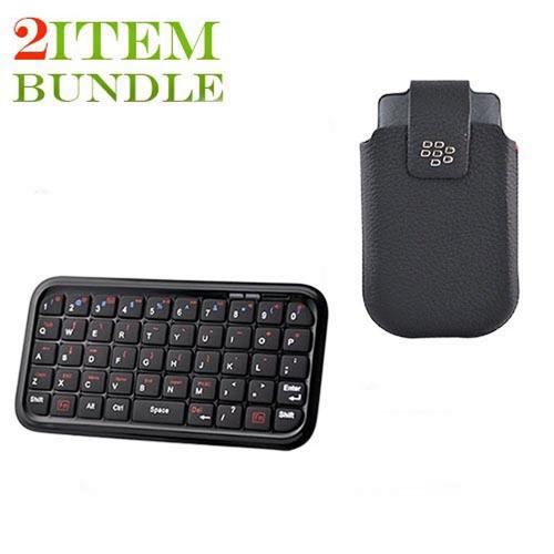 Blackberry Torch Bundle Package - Bluetooth Keyboard & Carrying Case & Blackberry Leather Pouch - (Workaholic Combo)