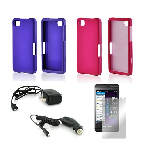 Essential Girly Bundle Package w/ Hot Pink & Purple Rubberized Hard Case, Mirror Screen Protector, Car & Travel Charger for Blackberry Z10