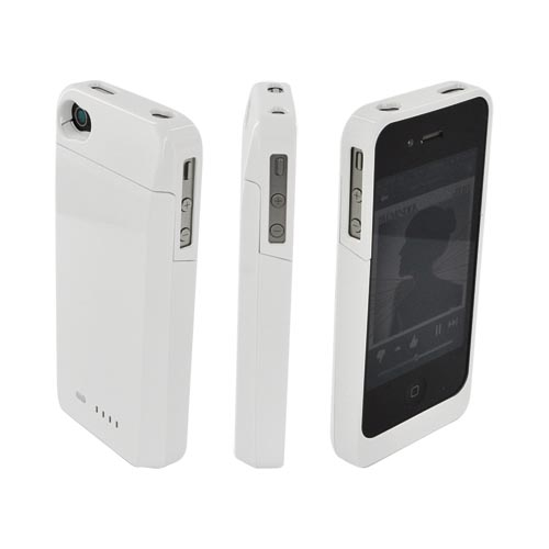 AT&T/ Verizon Apple iPhone 4, iPhone 4S Extended Battery Case w/ Data Cable & Screen Protector - White (1700 mAh)
