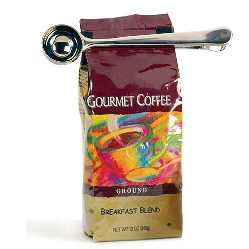 Kikkerland Caffe Latte Ground Bag Clip Stainless Steel Coffee Scooper Spoon